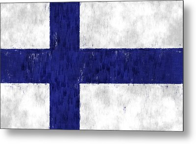 Finland Flag Metal Print by World Art Prints And Designs