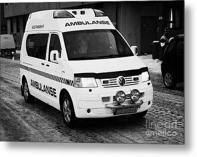 Finnmark Health Service Ambulance Honningsvag Norway Europe Metal Print by Joe Fox