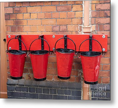 Fire Buckets At Toddington Railway Station Metal Print by Louise Heusinkveld