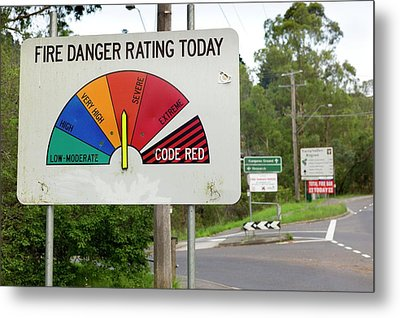 Fire Danger Rating Road Sign Metal Print by Dr Jeremy Burgess