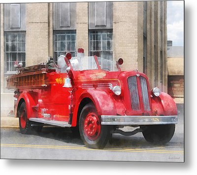 Fire Fighters - Vintage Fire Truck Metal Print by Susan Savad