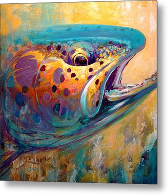 Fire From Water - Rainbow Trout Contemporary Art Metal Print by Savlen Art