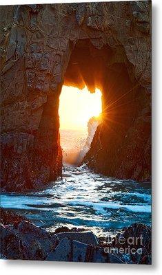 Fireburst - Arch Rock In Pfeiffer Beach In Big Sur. Metal Print by Jamie Pham