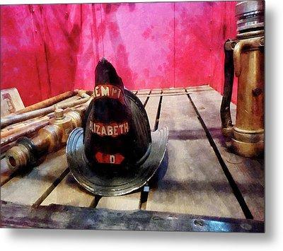 Fireman - Fire Helmet In Fire Truck Metal Print by Susan Savad
