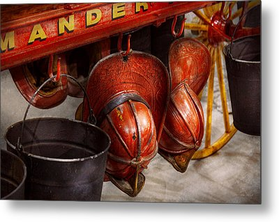 Fireman - Hats - I Volunteered For This  Metal Print by Mike Savad
