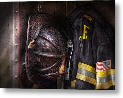 Fireman - Worn And Used Metal Print by Mike Savad