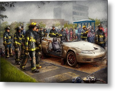 Firemen - The Fire Demonstration Metal Print by Mike Savad