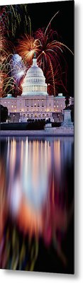 Firework Display Over A Government Metal Print by Panoramic Images