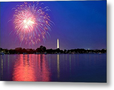 Fireworks Across The Potomac Metal Print by Steven Barrows