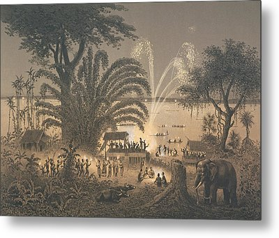 Fireworks On The River At Celebrations Metal Print by Louis Delaporte