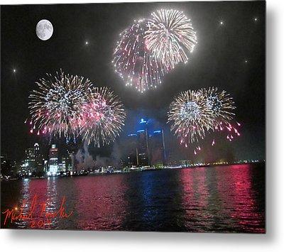 Fireworks Over Detroit Metal Print by Michael Rucker