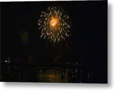 Fireworks Over Market Street Bridge Metal Print by Gene Walls
