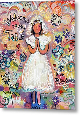 First Communion Girl Metal Print by Jen Norton