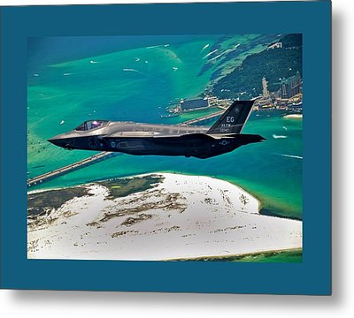 First F 35 Strike Fighter Headed For Service In Usaf Small Border Metal Print by L Brown