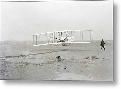 First Flight Captured On Glass Negative - 1903 Metal Print by Daniel Hagerman