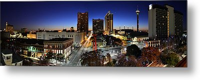 First Light On San Antonio Skyline - Texas Metal Print by Silvio Ligutti