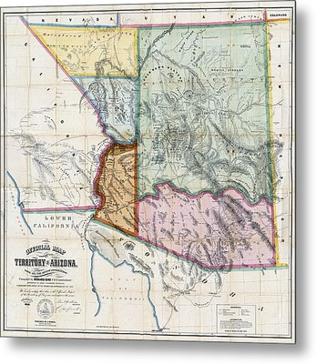 First Map Of Arizona Territory  1865 Metal Print by Daniel Hagerman