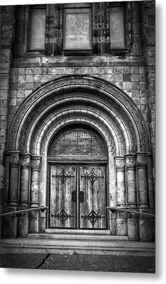 First Parish Church Of Plymouth Door Metal Print by Joan Carroll