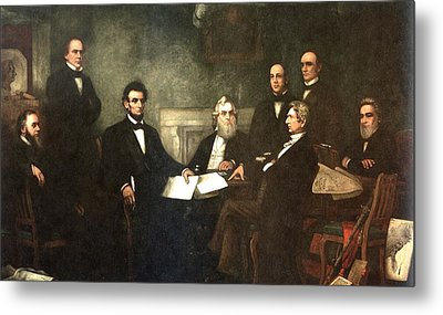 First Reading Of The Emancipation Proclamation Of President Lincoln Metal Print by Georgia Fowler