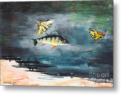Fish And Butterflies Metal Print by Pg Reproductions