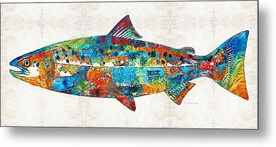 Fish Art Print - Colorful Salmon - By Sharon Cummings Metal Print by Sharon Cummings