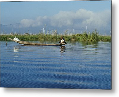 Fisherman On The Inle Lake Metal Print by Maria Heyens