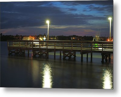 Fishing At Soundside Park In Surf City Metal Print by Mike McGlothlen