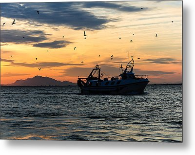 Fishing Boat At Sunset Metal Print by Tetyana Kokhanets