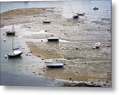Fishing Boats At Low Tide Metal Print by Olivier Le Queinec