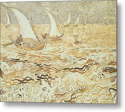 Fishing Boats At Saintes Maries De La Mer Metal Print by Vincent van Gogh