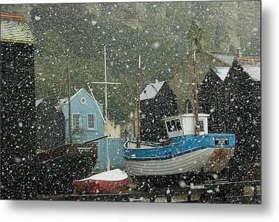 Fishing Boats Covered With Snow In Old Metal Print by Chris Parker