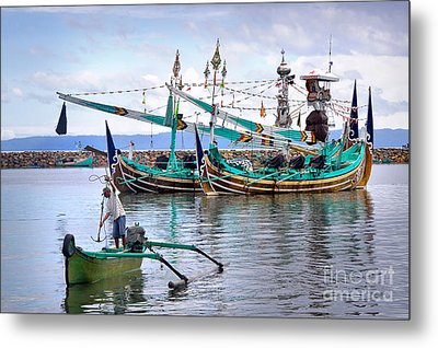 Fishing Boats In Bali Metal Print by Louise Heusinkveld