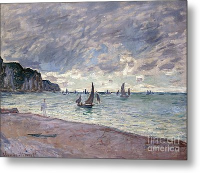 Fishing Boats In Front Of The Beach And Cliffs Of Pourville Metal Print by Claude Monet