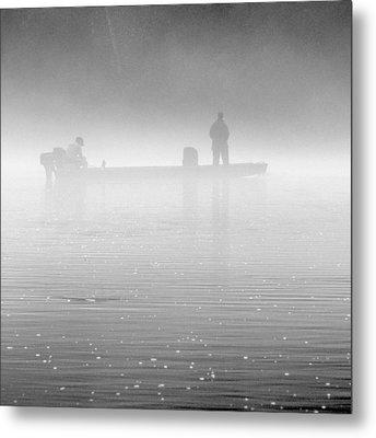 Fishing In The Fog Metal Print by Mike McGlothlen