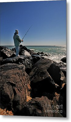 Fishing Off The Jetty Metal Print by Paul Ward