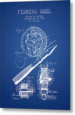 Fishing Reel Patent From 1906 - Blueprint Metal Print by Aged Pixel
