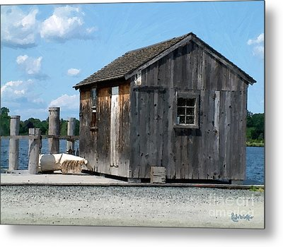 Fishing Shack On The Mystic River Metal Print by RC DeWinter