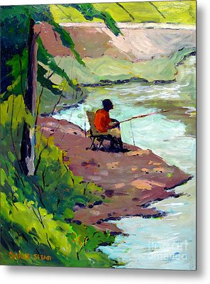 Fishing The Spillway Metal Print by Charlie Spear