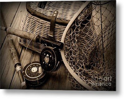 Fishing - Vintage Fishing  Black And White Metal Print by Paul Ward
