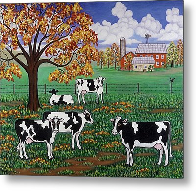 Five Black And White Cows Metal Print by Linda Mears