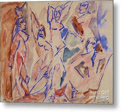 Five Nudes Study Metal Print by Pg Reproductions