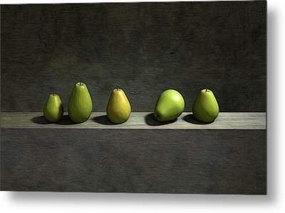 Five Pears Metal Print by Cynthia Decker