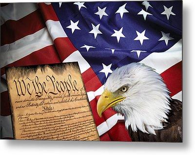 Flag Constitution Eagle Metal Print by Daniel Hagerman
