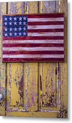 Flag On Old Yellow Door Metal Print by Garry Gay