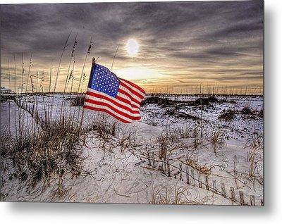 Flag On The Beach Metal Print by Michael Thomas