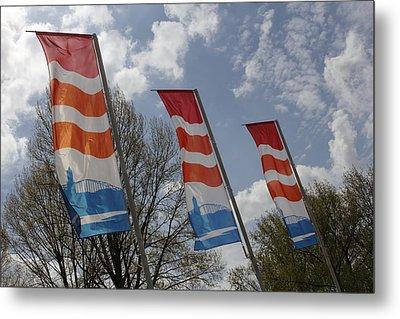 Flags Fluttering In The John Frost Bridge Metal Print by Ronald Jansen