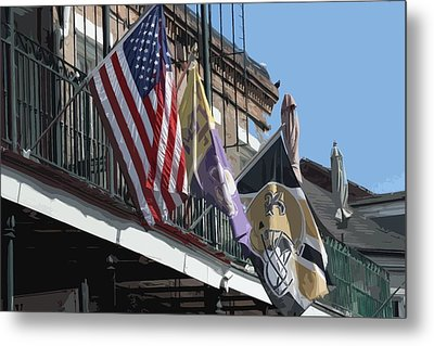 Flags On Bourbon Street Metal Print by Donna G Smith