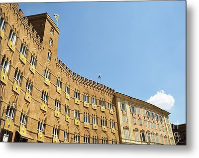 Flags On Building On Piazza Del Campo Metal Print by Sami Sarkis