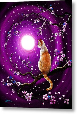 Flame Point Siamese Cat In Dancing Cherry Blossoms Metal Print by Laura Iverson