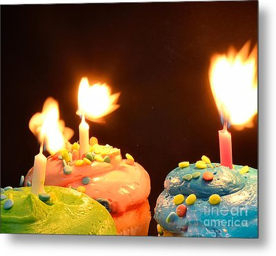 Flaming Cake Metal Print by Timothy OLeary